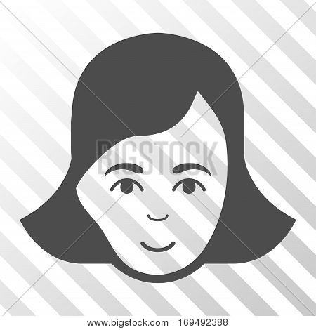 Gray Lady Face interface pictogram. Vector pictograph style is a flat symbol on diagonally hatched transparent background.