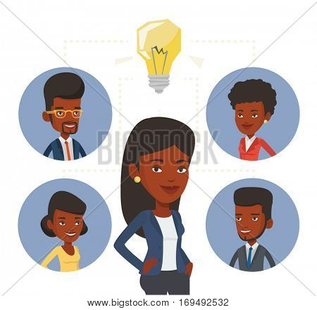 Businessmen working at business ideas. Businessmen discussing business idea. Group of business people connected by one idea light bulb. Vector flat design illustration isolated on white background.