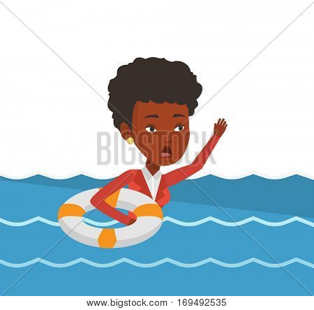 Afraid african business woman with lifebuoy sinking. Frightened business woman sinking and asking for help. Concept of failure in business. Vector flat design illustration isolated on white background