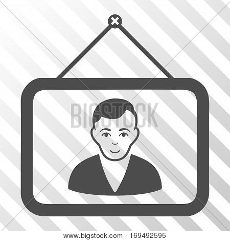 Gray Man Portrait interface icon. Vector pictograph style is a flat symbol on diagonal hatch transparent background.