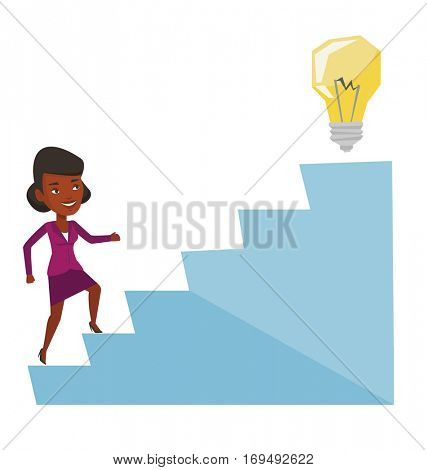 Business woman walking upstairs to the idea bulb. Businesswoman running on the stairs to get idea bulb on the top. Business idea concept. Vector flat design illustration isolated on white background