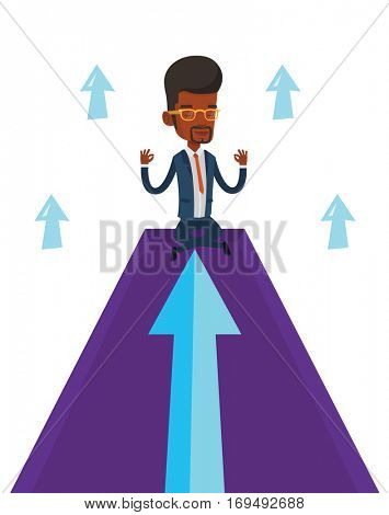 African businessman doing yoga on mountain with arrow going up. Businessman meditating in yoga lotus pose. Man sitting in yoga lotus pose. Vector flat design illustration isolated on white background.