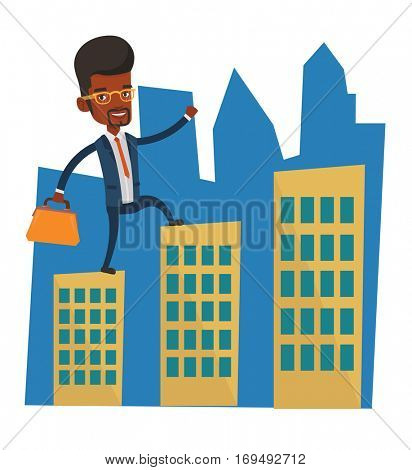 African businessman walking on the roofs of city buildings. Man walking on the roofs of skyscrapers. Businessman walking to the success. Vector flat design illustration isolated on white background.