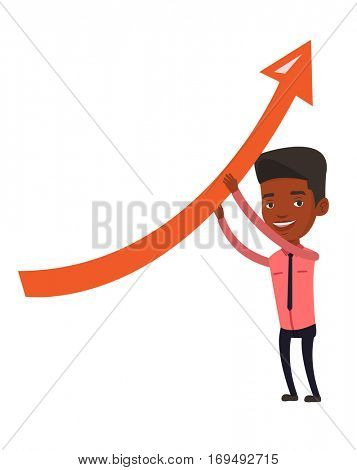 African businessman holding graph going up. Businessman with growth graph. Businessman changing the path of graph to a positive increase. Vector flat design illustration isolated on white background.