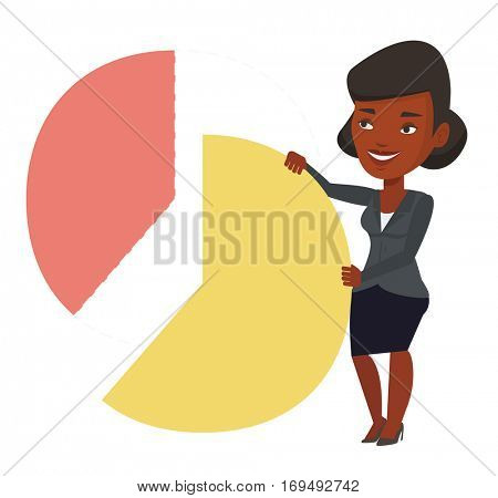 African-american shareholder taking her share of financial pie chart. Shareholder getting share of profit. Businesswoman sharing profit. Vector flat design illustration isolated on white background.
