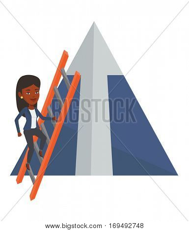 Businesswoman climbing the ladder. Businesswoman climbing on mountain with arrow going up. Woman climbing upward on the top of mountain. Vector flat design illustration isolated on white background.