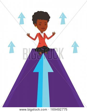 Businesswoman doing yoga on mountain with arrow going up. Businesswoman meditating in yoga lotus pose. Woman sitting in yoga lotus pose. Vector flat design illustration isolated on white background.