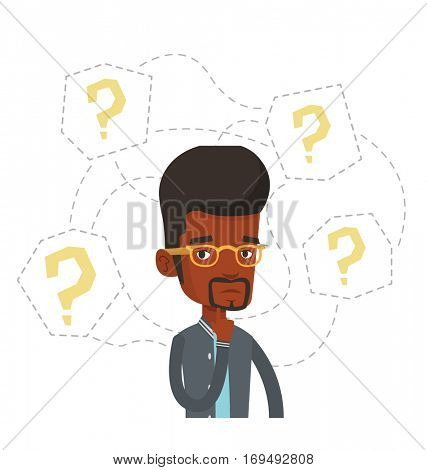 African-american businessman thinking. Thinking businessman standing under question marks. Thinking man surrounded by question marks. Vector flat design illustration isolated on white background.