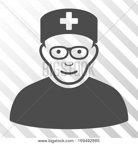 Gray Medical Specialist toolbar icon. Vector pictogram style is a flat symbol on diagonally hatched transparent background.