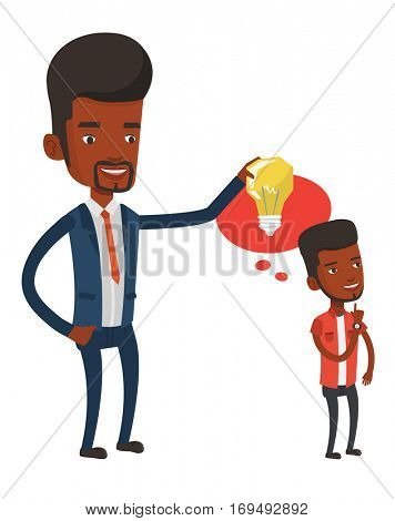 African-american man holding idea bulb over head of his collegue. Cheerful businessman giving idea to his partner. Business idea concept. Vector flat design illustration isolated on white background.