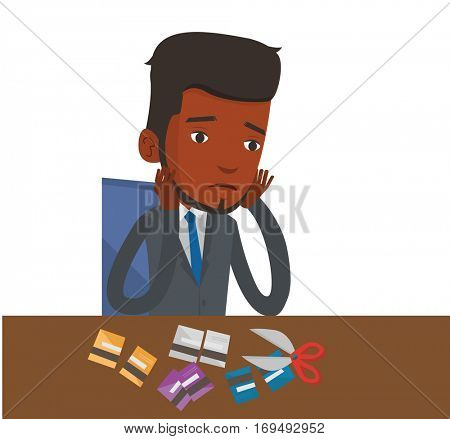 African-american businessman cutting credit card. Man sitting at the desk with cut credit card. Man cutting credit card with scissors. Vector flat design illustration isolated on white background.