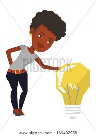 African-american businesswoman having business idea. Young business woman looking at the bright idea light bulb. Business idea concept. Vector flat design illustration isolated on white background.