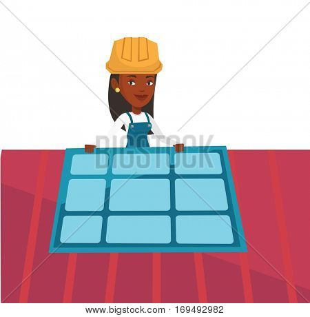 African-american woman installing solar panels on roof. Technician in hard hat checking solar panel on roof. Woman adjusting solar panel. Vector flat design illustration isolated on white background.