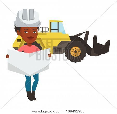 African-american engineer in helmet watching a blueprint. Young woman with engineer blueprint. An engineer in hard hat holding a blueprint. Vector flat design illustration isolated on white background