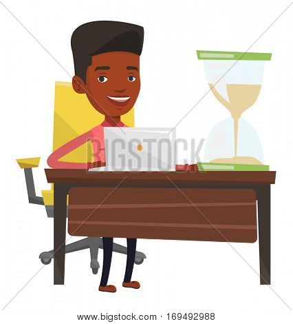 Business man sitting at the table with hourglass symbolizing deadline. Business man coping with deadline successfully. Deadline concept. Vector flat design illustration isolated on white background.