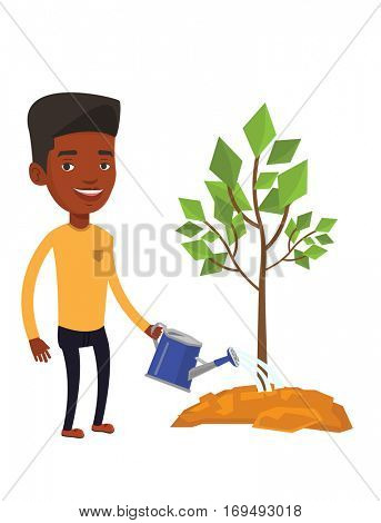 An african-american friendly man watering tree. Gardener with watering can. Young man gardening. Concept of environmental protection. Vector flat design illustration isolated on white background.