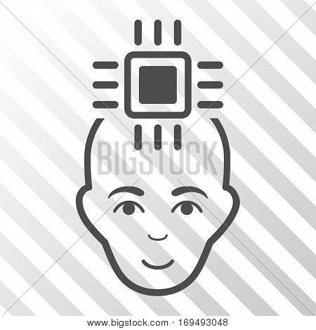 Gray Neural Computer Interface interface icon. Vector pictograph style is a flat symbol on diagonally hatched transparent background.