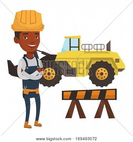 African-american builder standing with arms crossed. Confident builder in hard hat. Young builder in overalls at work on construction site. Vector flat design illustration isolated on white background