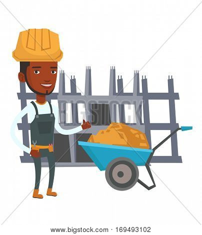 African builder with thumb up standing near wheelbarrow. Young builder in hard hat giving thumb up. Builder at work on construction site. Vector flat design illustration isolated on white background.