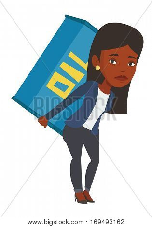 African woman carrying an oil barrel on his back. Sad woman walking with oil barrel on his back. Upset woman holding heavy oil barrel. Vector flat design illustration isolated on white background.