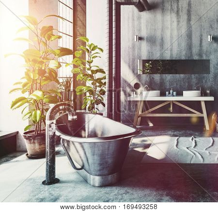 Hipster bathroom in a converted industrial loft with a vintage style roll top metal bathtub and simple vanities on a grey grunge wall with pipe work and windows letting in daylight , 3d rendering
