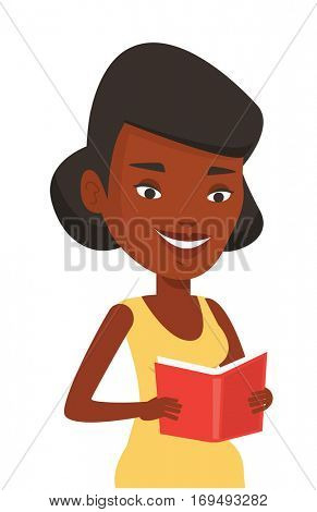 African-american cheerful student reading a book and preparing for exam. Smiling student reading a book. Student holding a book in hands. Vector flat design illustration isolated on white background.