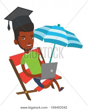 Graduate lying in chaise lounge. Graduate in graduation cap working on a laptop. Graduate studying on beach. Online education concept. Vector flat design illustration isolated on white background.