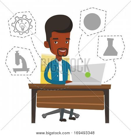 African-american man working on a laptop and writing notes. Student sitting at the table with laptop. Student using laptop for education. Vector flat design illustration isolated on white background.