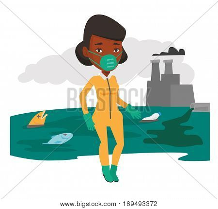 An african-american woman in gas mask and radiation protective suit standing on the background of nuclear power plant. Vector flat design illustration isolated on white background.