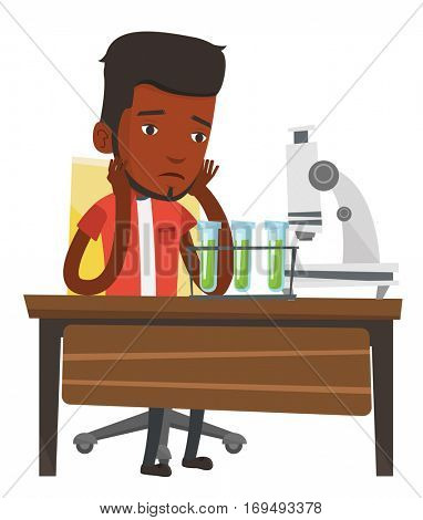 African student clutching head after failed experiment in chemistry class. Disappointed student carrying out experiment in chemistry class. Vector flat design illustration isolated on white background