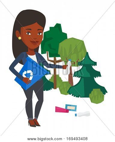 African woman collecting garbage in recycle bin. Woman with recycling bin in hand picking up used plastic bottles. Waste recycling concept. Vector flat design illustration isolated on white background