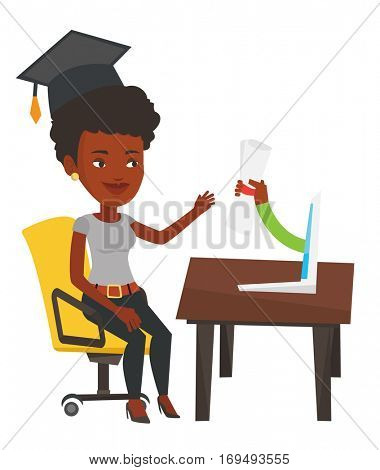 African student in graduation cap working on computer. Graduate getting diploma from the computer. Online education and graduation concept. Vector flat design illustration isolated on white background