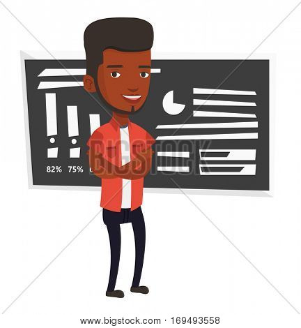 African-american young teacher standing in classroom. Smiling teacher standing in front of chalkboard. Teacher standing with folded arms. Vector flat design illustration isolated on white background.