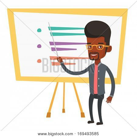 An african teacher standing in front of board with a pointer. Teacher standing with a pointer in classroom. Young teacher with pointer. Vector flat design illustration isolated on white background.