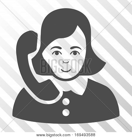 Gray Receptionist interface icon. Vector pictogram style is a flat symbol on diagonally hatched transparent background.