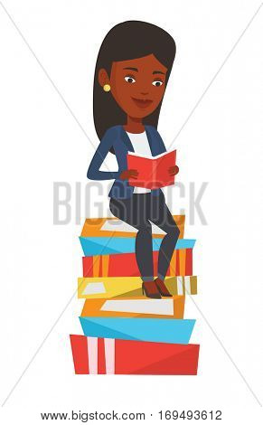 African-american student sitting on huge pile of books. Student reading book. Smiling woman sitting on stack of books with book in hands. Vector flat design illustration isolated on white background