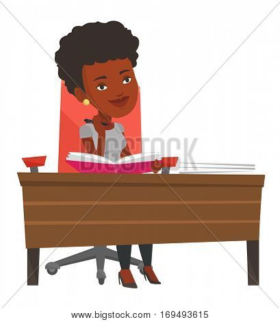 African-american student sitting at the table and thinking. Thinking student writing in exercise book. Thinking student doing homework. Vector flat design illustration isolated on white background.
