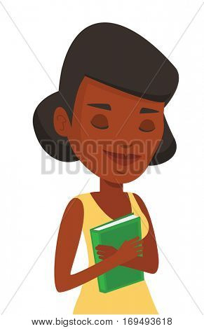 African-american student likes read books. Student hugging her book. Happy student with eyes closed holding a book. Concept of education. Vector flat design illustration isolated on white background.