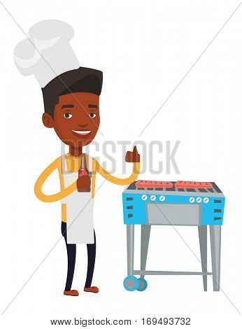 African-american man cooking meat on barbecue grill. Man with bottle in hand cooking meat on gas barbecue grill and giving thumb up. Vector flat design illustration isolated on white background.