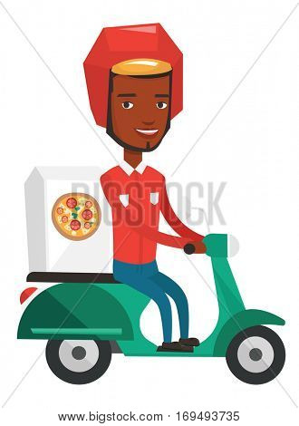 Courier delivering pizza on scooter. Courier driving a scooter and delivering pizza. Worker of delivery service of pizza. Food delivery concept. Vector flat design illustration isolated on background.