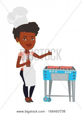 African-american woman cooking meat on barbecue grill. Woman with bottle in hand cooking meat on gas barbecue grill and giving thumb up. Vector flat design illustration isolated on white background.