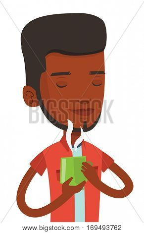 African-american man drinking hot flavored coffee. Young man holding cup of coffee with steam. Man with his eyes closed enjoying coffee. Vector flat design illustration isolated on white background.