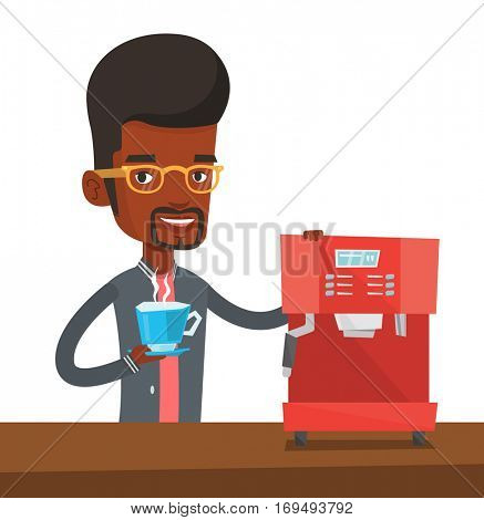 An african-american young man using coffee-machine. Smiling man holding cup of hot coffee in hand. Man standing beside a coffee machine. Vector flat design illustration isolated on white background.
