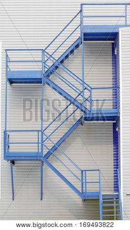flight blue   iron path stairs on  building