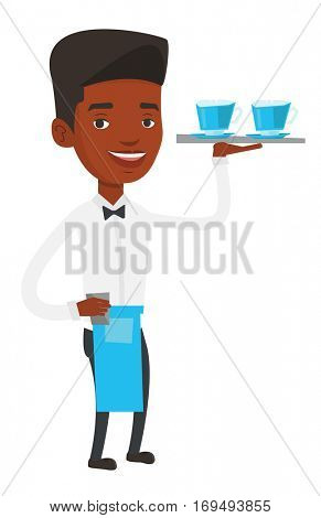 African-american friendly waiter standing with tray with cups of hot flavoured coffee. Waiter holding a tray with cups of tea or coffee. Vector flat design illustration isolated on white background.