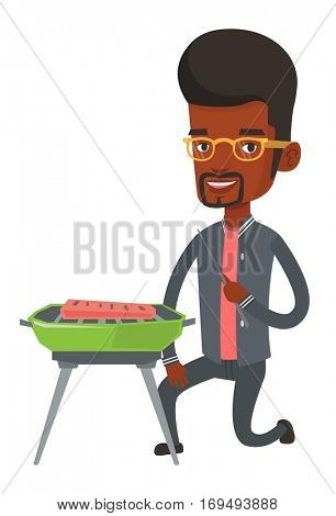 African-american man cooking meat on the barbecue grill outdoors. Young man having a barbecue party. Smiling man preparing barbecue. Vector flat design illustration isolated on white background.