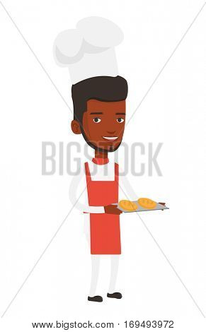 Happy young african baker holding tray of bread. Confident male baker standing with tray of bread. Smiling baker holding baking tray. Vector flat design illustration isolated on white background.