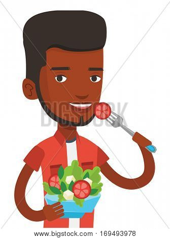 African-american man eating healthy vegetable salad. Man enjoying fresh vegetable salad. Man holding fork and bowl with vegetable salad. Vector flat design illustration isolated on white background.