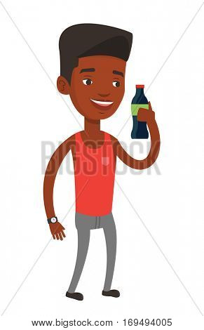 African-american man holding soda beverage in bottle. Young man standing with bottle of soda. Cheerful man drinking soda from bottle. Vector flat design illustration isolated on white background.