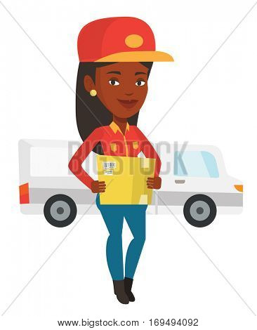 Delivery courier holding box on the background of truck. Delivery courier carrying cardboard box. Delivery courier with box in hands. Vector flat design illustration isolated on white background.